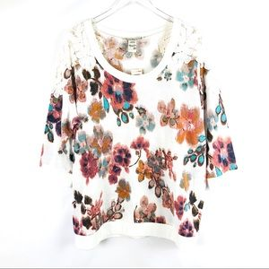 American Rag Plus SZ Floral Lace Top